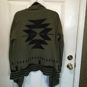 Sweaters - Olive green wrap sweater with black Aztec design